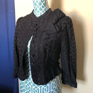 Beautiful lace overlay black cropped jacket